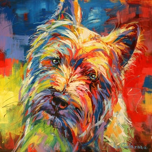 (CreativeWork) Maltese Terrier by Jos Coufreur. Acrylic Paint. Shop online at Bluethumb.
