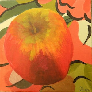 (CreativeWork) Red Apple by Kerry T. arcylic-painting. Shop online at Bluethumb.