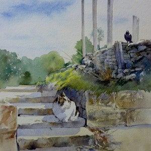 (CreativeWork) Steps and Stares by LINDA CAMAC. watercolour. Shop online at Bluethumb.