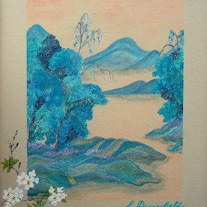 (CreativeWork) PEACH BLOSSOM by Lisa Dangerfield. arcylic-painting. Shop online at Bluethumb.
