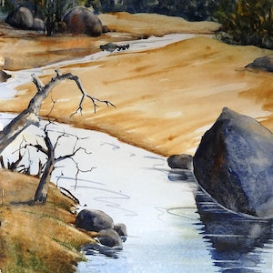 (CreativeWork) Headwaters by Sue Lederhose. watercolour. Shop online at Bluethumb.