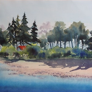 (CreativeWork) The Island by Sue Lederhose. watercolour. Shop online at Bluethumb.