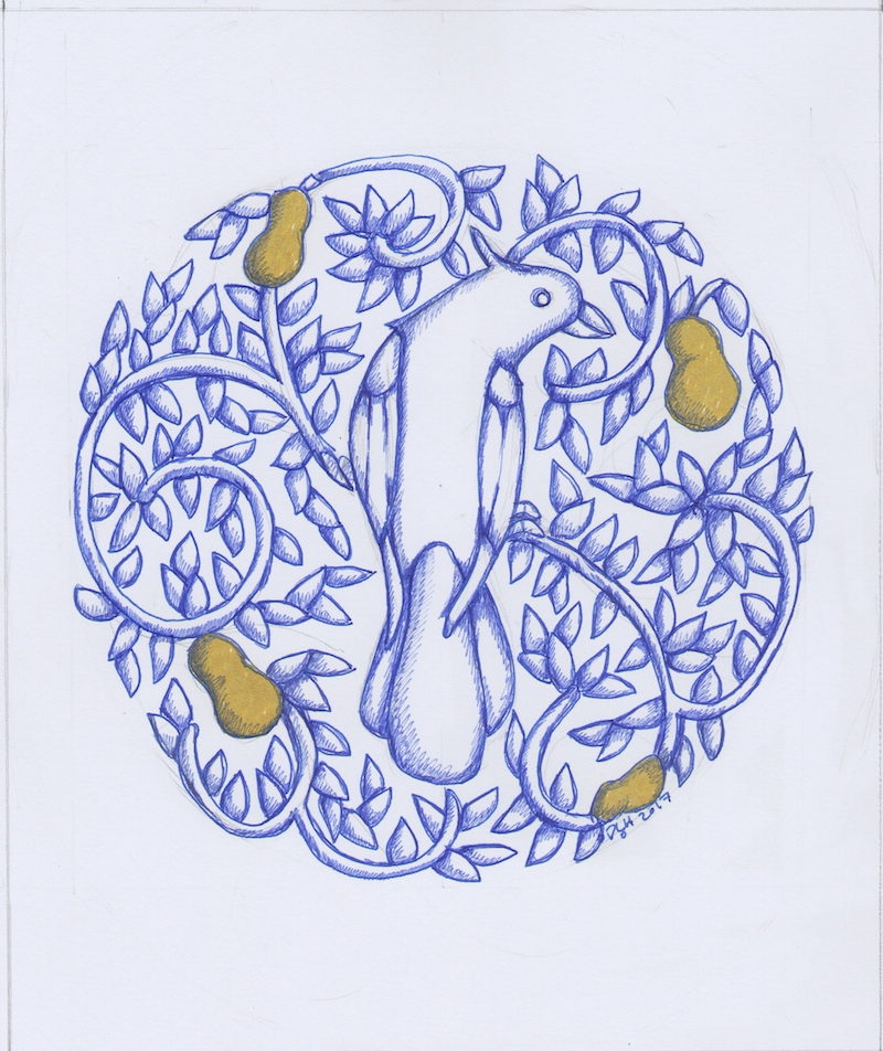 (CreativeWork) Round Partridge Pear Tree 2017 original drawing by Donna Huntriss. drawing. Shop online at Bluethumb.