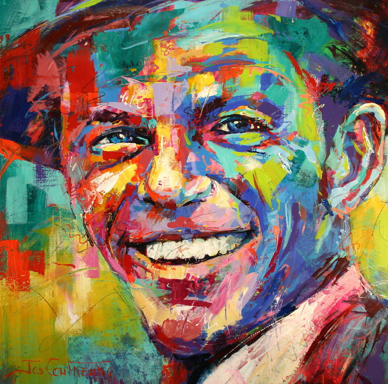 (CreativeWork) Frank Sinatra by Jos Coufreur. Acrylic Paint. Shop online at Bluethumb.