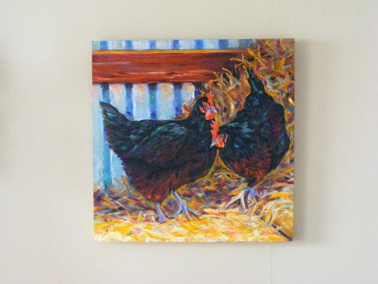 """(CreativeWork) """"Taking turns on the nest"""" by Daniela Selir. Oil Paint. Shop online at Bluethumb."""