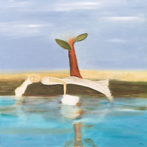 (CreativeWork) Waters Edge by Kim Holden. oil-painting. Shop online at Bluethumb.