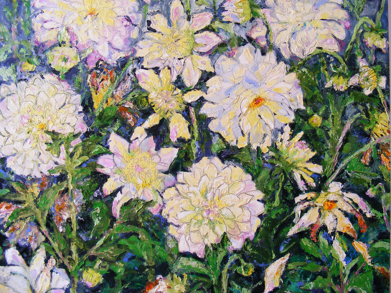 "(CreativeWork) ""White Dahlias"" by Daniela Selir. Oil Paint. Shop online at Bluethumb."