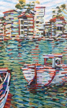 (CreativeWork) From the Pier by D.M. Ross. Oil Paint. Shop online at Bluethumb.