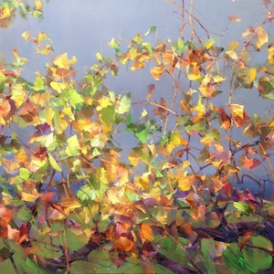 (CreativeWork) Deep autumn light by Tom O'Callaghan. oil-painting. Shop online at Bluethumb.