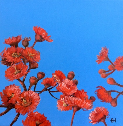 (CreativeWork) Red Gum Blossoms by Chris Hobel. arcylic-painting. Shop online at Bluethumb.