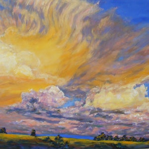 "(CreativeWork) ""Autumn sky"" by Daniela Selir. oil-painting. Shop online at Bluethumb."
