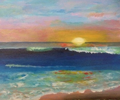(CreativeWork) Beach sunset by T Robertson. arcylic-painting. Shop online at Bluethumb.