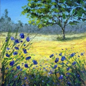 (CreativeWork) Wild flower by Jing Tian. arcylic-painting. Shop online at Bluethumb.