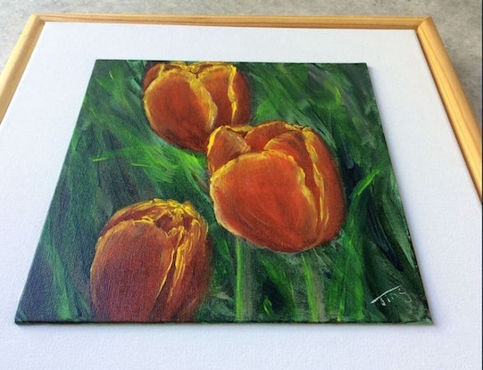 (CreativeWork) Deep red tulips  by Jing Tian. Acrylic Paint. Shop online at Bluethumb.
