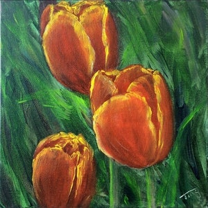 (CreativeWork) Deep red tulips  by Jing Tian. acrylic-painting. Shop online at Bluethumb.