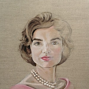 (CreativeWork) Jackie in Pink by Donna Christie. oil-painting. Shop online at Bluethumb.