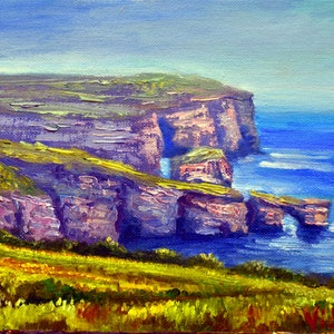 (CreativeWork) Oil on canvas View of Dwejra, Gozo  by Christopher Vidal. oil-painting. Shop online at Bluethumb.