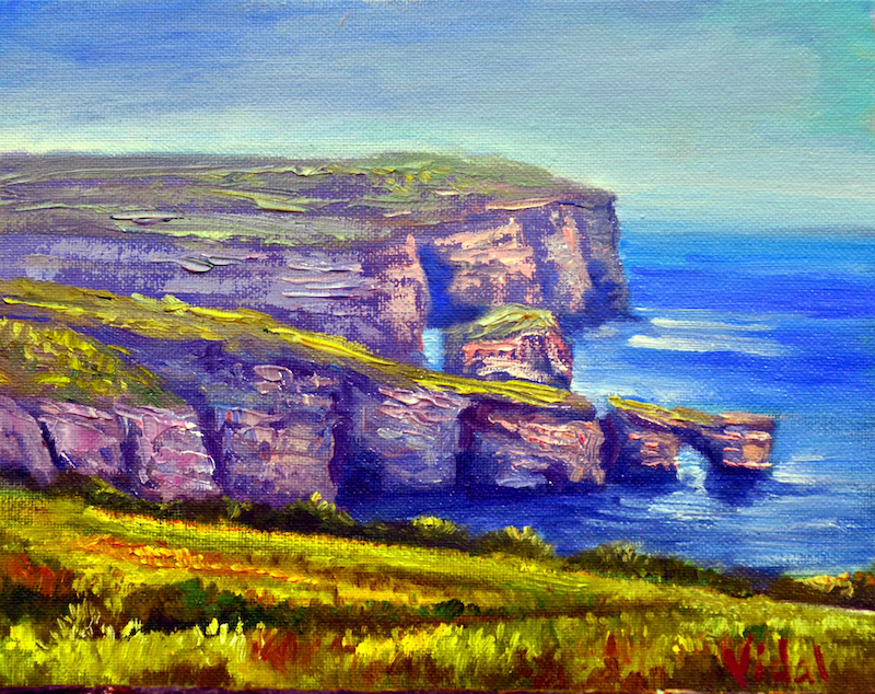 (CreativeWork) Oil on canvas View of Dwejra, Gozo  by Christopher Vidal. #<Filter:0x00007fbb791e6ab8>. Shop online at Bluethumb.