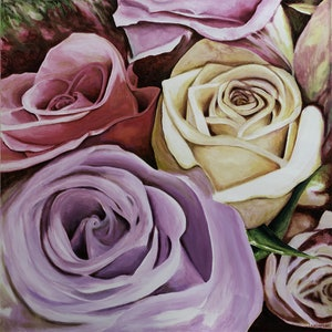 (CreativeWork) ROSES by LOUISE GROVE WIECHERS. arcylic-painting. Shop online at Bluethumb.