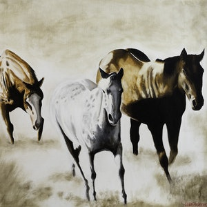 (CreativeWork)  THREE HORSES by LOUISE GROVE WIECHERS. arcylic-painting. Shop online at Bluethumb.
