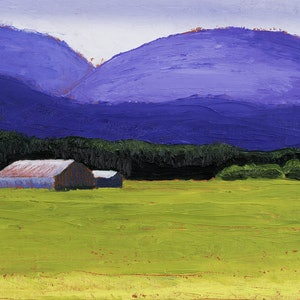 (CreativeWork) LANDSCAPE NEAR MT ALFORD by LOUISE GROVE WIECHERS. oil-painting. Shop online at Bluethumb.