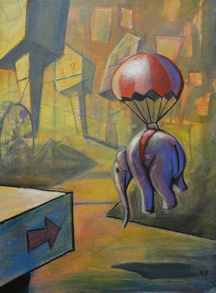 (CreativeWork) Elephant and Parachute by Ross Morgan. Acrylic. Shop online at Bluethumb.
