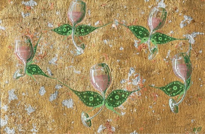 (CreativeWork) A Rosé Summer's Day by Amy Mills. mixed-media. Shop online at Bluethumb.