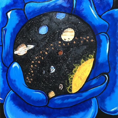 (CreativeWork) Solar System Flower by Maux Zachintosh. Acrylic Paint. Shop online at Bluethumb.