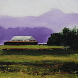 (CreativeWork) LANDSCAPE WITH SHED by LOUISE GROVE WIECHERS. oil-painting. Shop online at Bluethumb.