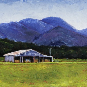 (CreativeWork) LANDSCAPE WITH SHED, MT ALFORD by LOUISE GROVE WIECHERS. oil-painting. Shop online at Bluethumb.