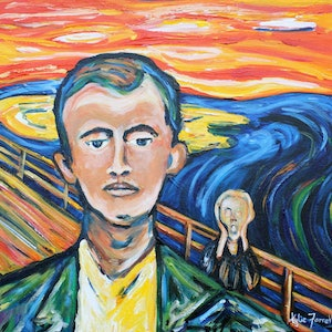 (CreativeWork) After Munch by Kylie Farrelly. arcylic-painting. Shop online at Bluethumb.