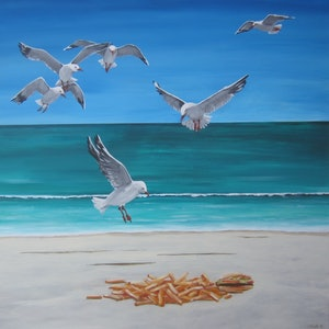 (CreativeWork) Seagulls at lunch by Andrea Berry. arcylic-painting. Shop online at Bluethumb.
