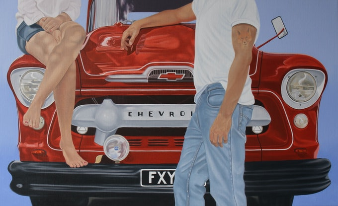 (CreativeWork) The Fox and the Chevvy by Margaret Ingles. Oil Paint. Shop online at Bluethumb.