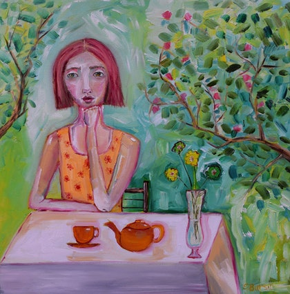 (CreativeWork) Enjoying the moment - Lady having tea in the garden on canvas 41 cm x 41 cm by Sharyn Bursic. oil-painting. Shop online at Bluethumb.