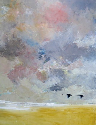 (CreativeWork) Paired for life (black swans in the afternnon) by John Graham. Oil. Shop online at Bluethumb.