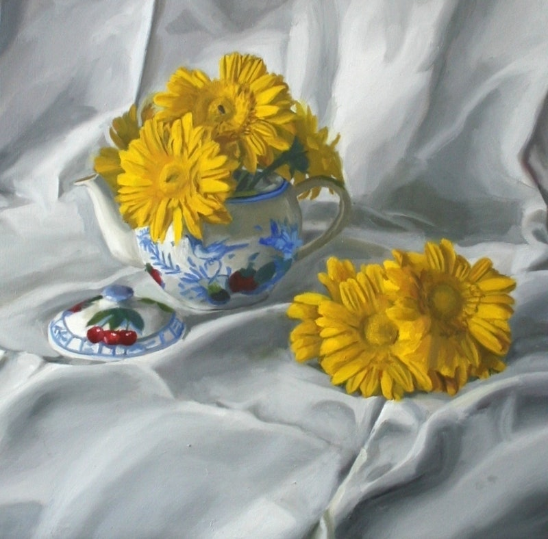 Still life with yellow flowers by angela parragi paintings for sale creativework still life with yellow flowers by angela parragi oil painting mightylinksfo