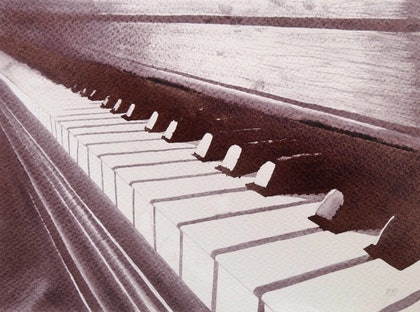 (CreativeWork) Piano Keys and Wine Notes by Amy Mills. other-media. Shop online at Bluethumb.