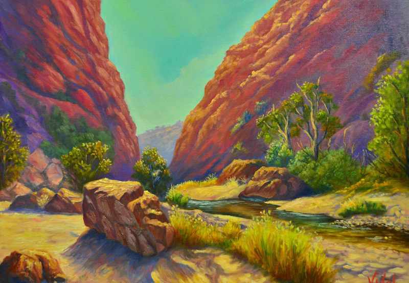 (CreativeWork) Simpsons Gap, West MacDonnell Ranges NT by Christopher Vidal. oil-painting. Shop online at Bluethumb.