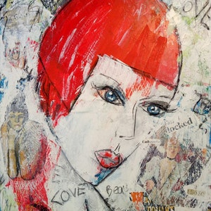 (CreativeWork) Ruby Red. Abstract portrait. by Anna Farmilo Goetze. mixed-media. Shop online at Bluethumb.