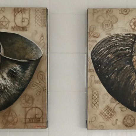(CreativeWork) NAUTILUS I and II by LOUISE GROVE WIECHERS. Acrylic Paint. Shop online at Bluethumb.