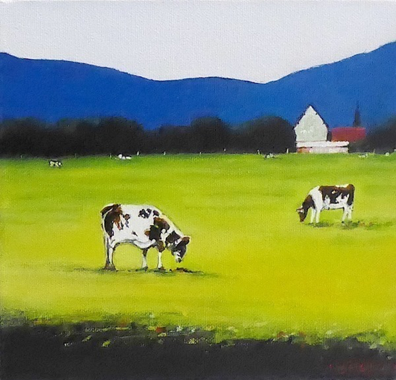 (CreativeWork) LANDSCAPE WITH COWS by LOUISE GROVE WIECHERS. arcylic-painting. Shop online at Bluethumb.