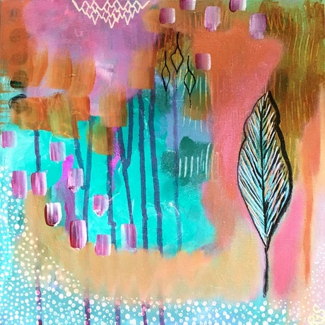 (CreativeWork) Luminous Garden by Bec Schopen. Mixed Media. Shop online at Bluethumb.