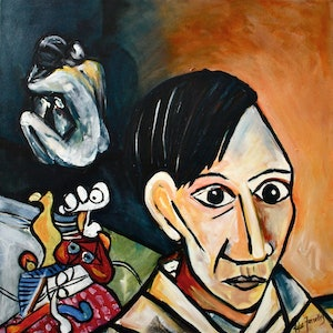 (CreativeWork) After Picasso by Kylie Farrelly. arcylic-painting. Shop online at Bluethumb.