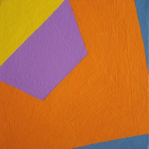 (CreativeWork) Orange and Blue Construction by Lila Afiouni. arcylic-painting. Shop online at Bluethumb.