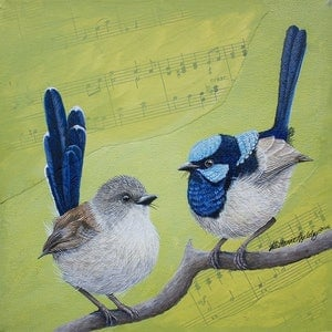 (CreativeWork) Blue Wrens  by Katherine Appleby. mixed-media. Shop online at Bluethumb.