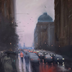 (CreativeWork) Bridge Street, Sydney by Mike Barr. oil-painting. Shop online at Bluethumb.