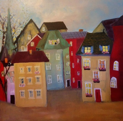 (CreativeWork) Hometown  Memory by Berit Zetterman. arcylic-painting. Shop online at Bluethumb.