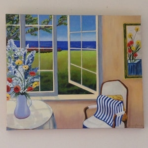 (CreativeWork) Looking through the window  by Pauline Denham. oil-painting. Shop online at Bluethumb.