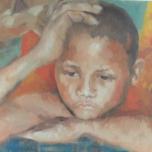 (CreativeWork) Little Monk  by Julia Greenham. oil-painting. Shop online at Bluethumb.
