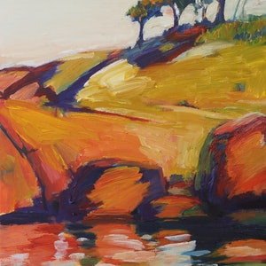 (CreativeWork) Inlet 1 (Bay of Fires, Tasmania) by Glenn Miller. oil-painting. Shop online at Bluethumb.